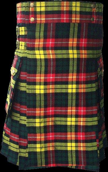 54 Size Highland Utility Kilt in Buchanan Tartan Scottish Cargo Tartan Kilt for Active Men