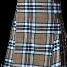 32 Size Highland Utility Kilt in Camel Thompson Tartan Scottish Cargo Tartan Kilt for Active Men