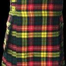 60 Size Highland Utility Kilt in Buchanan Tartan Scottish Cargo Tartan Kilt for Active Men