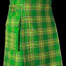 26 Size Highland Utility Kilt in Irish National Tartan Scottish Cargo Tartan Kilt for Active Men