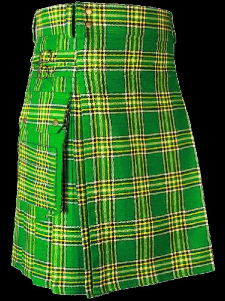 60 Size Highland Utility Kilt in Irish National Tartan Scottish Cargo Tartan Kilt for Active Men