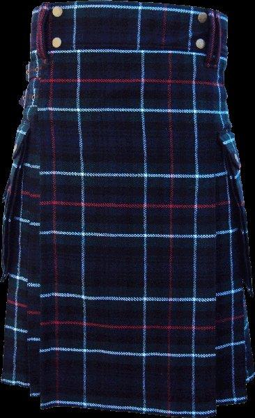 26 Size Highland Utility Kilt in Mackenzie Tartan Scottish Cargo Tartan Kilt for Active Men