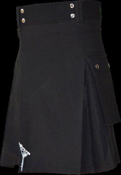 28 Size Highland Utility Kilt in Plain Black Tartan Scottish Cargo Tartan Kilt for Active Men