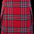 52 Size Highland Utility Kilt in Royal Stewart Tartan Scottish Cargo Pocket Kilt for Active Men