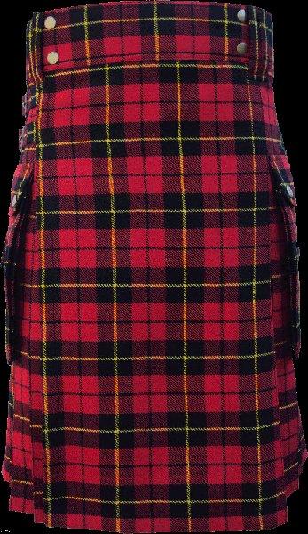 30 Size Highland Utility Kilt in Wallace Tartan Scottish Cargo Pocket Kilt for Active Men