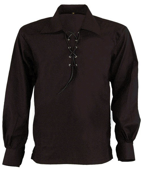 Men Large Black Jacobean Jacobite Ghillie Kilt Shirt Small to 5XL