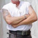 Small Size Sleeveless White Jacobean Jacobite Ghillie Kilt Shirt for Men with Expedite Shipping