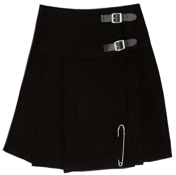 Traditional Highland Plain Black Scottish Mini Kilt Skirt with Leather Straps 30 Inches Waist Size
