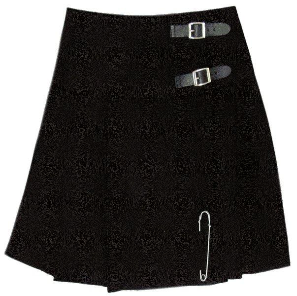 Traditional Highland Plain Black Scottish Mini Kilt Skirt with Leather Straps 32 Inches Waist Size