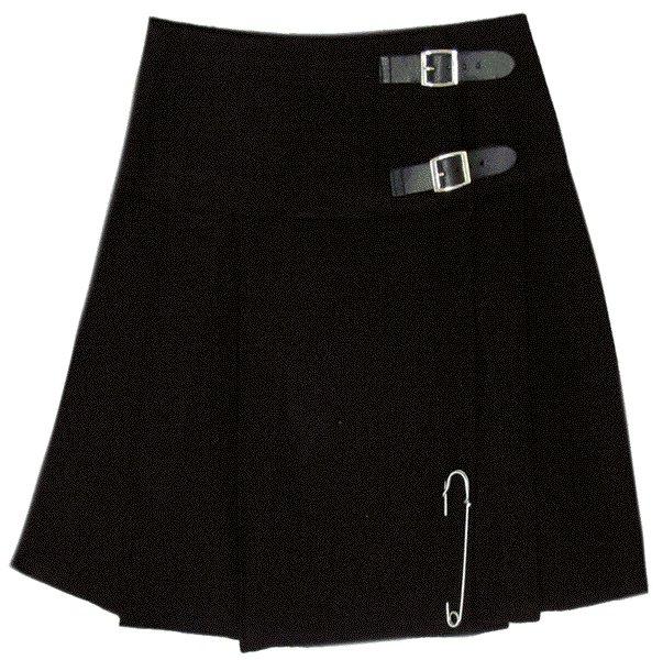 Traditional Highland Plain Black Scottish Mini Kilt Skirt with Leather Straps 46 Inches Waist Size