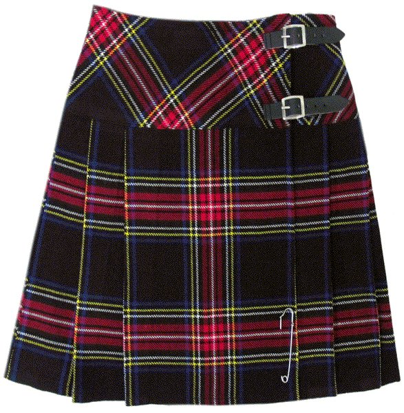 Ladies Black Stewart Tartan Mini Billie Kilt Mod Skirt sz 50 waist Girls Mini Billie Skirt