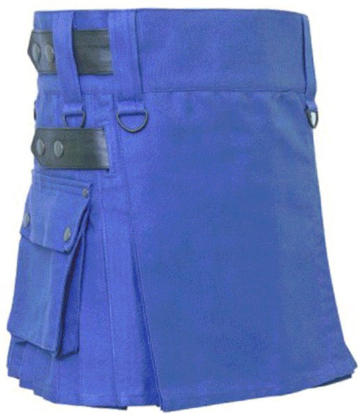 Size 40 Tactical Deluxe Ladies Royal Blue Cotton UTILITY Kilt-Skirt with Leather Straps