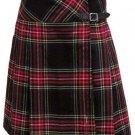 Ladies Knee Length Kilted Skirt, 58 sz Scottish Billie Kilt Mod Skirt in Black Stewart Tartan