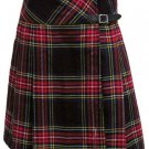 Ladies Knee Length Kilted Skirt, 64 sz Scottish Billie Kilt Mod Skirt in Black Stewart Tartan