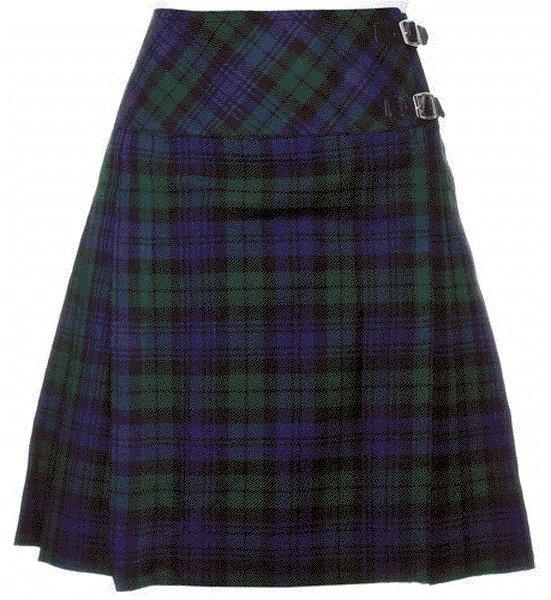 30 sz Scottish Billie Kilt Mod Skirt in Black Watch Tartan, Ladies Knee Length Kilted Skirt