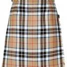 Ladies Knee Length Kilted Skirt, 62 sz Scottish Billie Kilt Mod Skirt in Camel Thompson Tartan