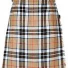 Ladies Knee Length Kilted Skirt, 64 sz Scottish Billie Kilt Mod Skirt in Camel Thompson Tartan