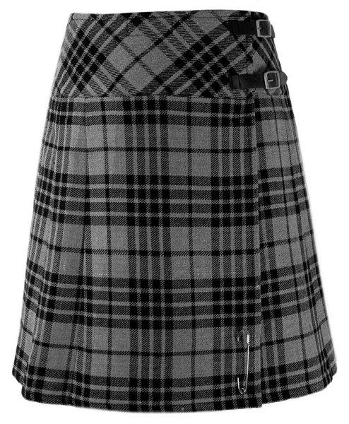 Ladies Knee Length Kilted Long Skirt, 26 sz Scottish Billie Kilt Mod Skirt in Gray Watch Tartan