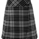 Ladies Knee Length Kilted Long Skirt, 60 sz Scottish Billie Kilt Mod Skirt in Gray Watch Tartan