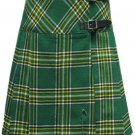 Ladies Knee Length Kilted Long Skirt, 26 sz Scottish Billie Kilt Mod Skirt in Irish National Tartan