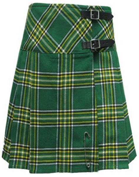 Ladies Knee Length Kilted Long Skirt, 38 sz Scottish Billie Kilt Mod Skirt in Irish National Tartan