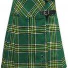 Ladies Knee Length Kilted Long Skirt, 60 sz Scottish Billie Kilt Mod Skirt in Irish National Tartan