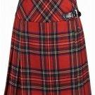 Ladies Billie Pleated Kilt 56 sz Knee Length Long Skirt in Royal Stewart Tartan