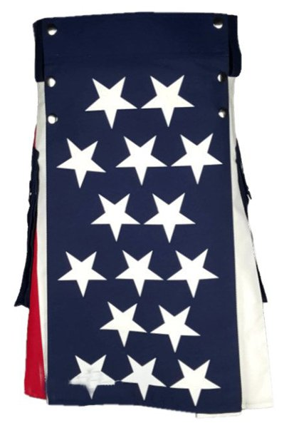 34 Waist American Flag Hybrid Modern Utility Kilt with Cargo Pockets Tactical Kilt-Skirt