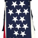 48 Waist American Flag Hybrid Modern Utility Kilt with Cargo Pockets Tactical Kilt-Skirt