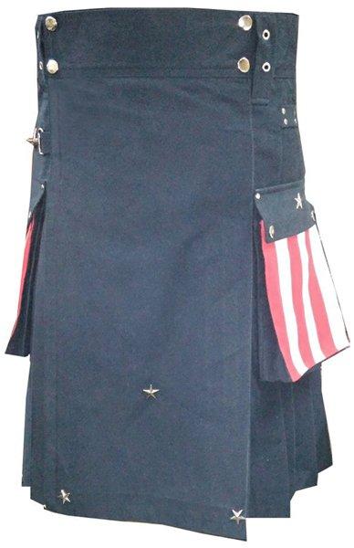 64 Size Hybrid Utility Kilt with US Flag Pocket Tactical Duty Utility Kilt Cargo Pockets