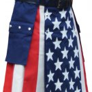 36 Size American Flag Hybrid Modern Utility Kilt Adjustable Leather Straps Cargo Pocket Skirt