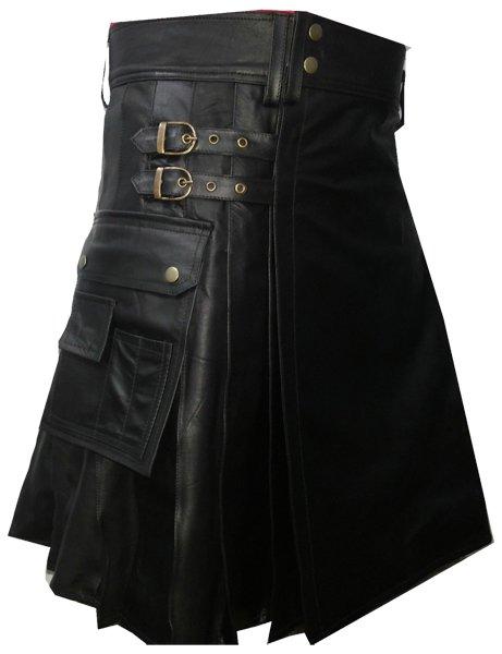 Utility Black Leather Pleated Kilt 30 Size Genuine Cow Leather Sports Kilt with Cargo Pockets