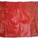 Genuine Cowhide Leather Red Kilt in 62 Size Utility Kilt Casual Pleated Scottish Kilt
