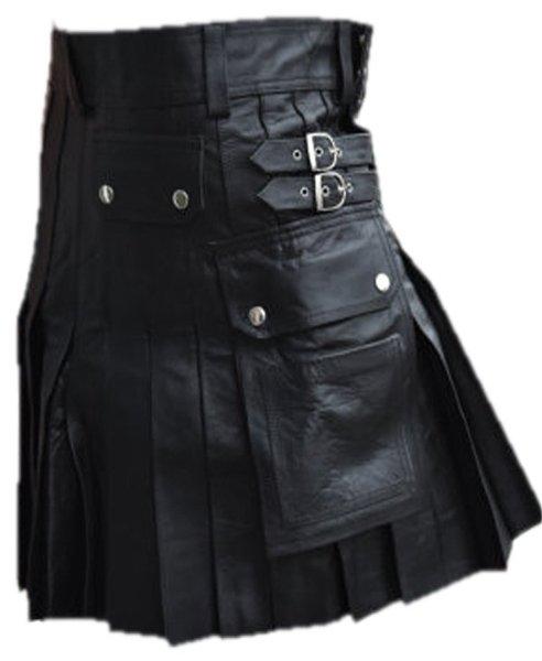Utility Kilt with Pockets Pure Leather Black Kilt Scottish Kilt 42 Size Cowhide Leather Kilt Skirt