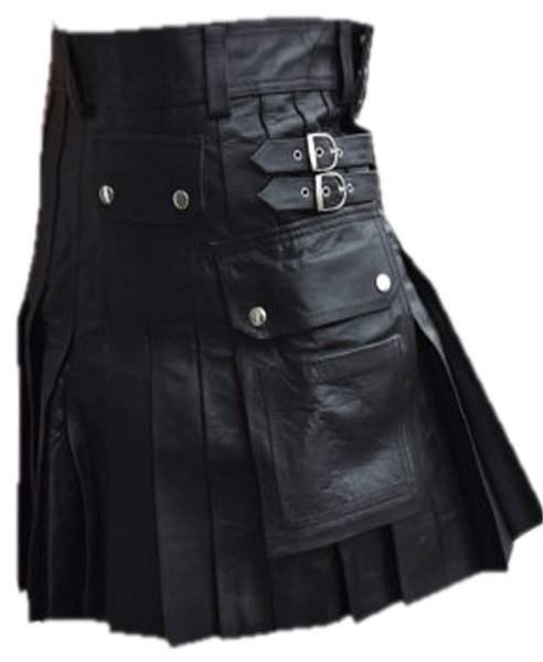 Utility Kilt with Pockets Pure Leather Black Kilt Scottish Kilt 56 Size Cowhide Leather Kilt Skirt