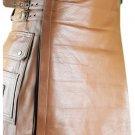 58 Size Brown Utility Leather Kilt Genuine Cowhide Brown Leather Scottish Kilt Skirt