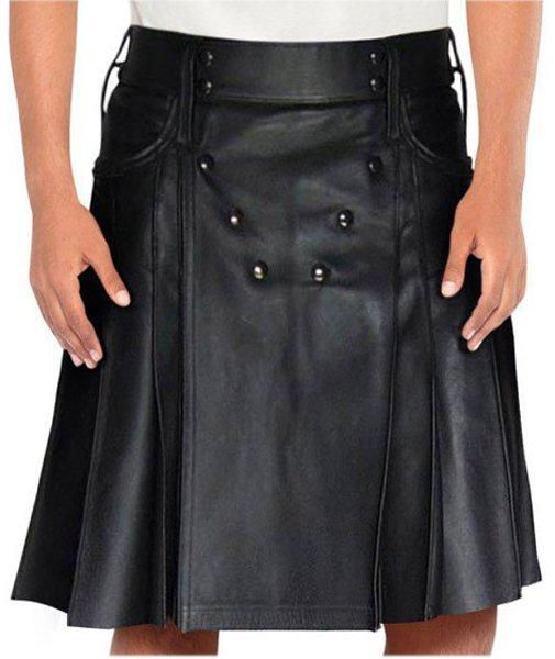 Stud Button Men Leather Kilt 42 Size Black Leather Kilt with Back Pockets For Men
