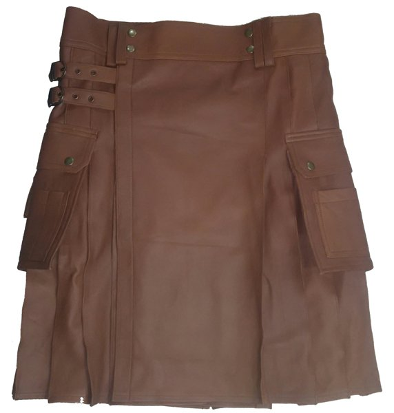 Genuine Cowhide Utility Kilt with Cargo Pockets 56 Size Soft Skin Scottish Kilt Skirt