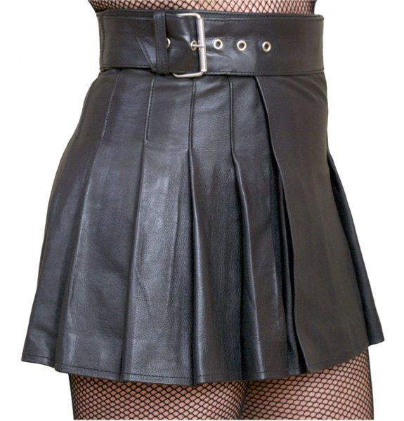 Size 34 Ladies Mini Stylish Skirt in Real Black Leather Wrap-around Leather Mini Skirt Kilt