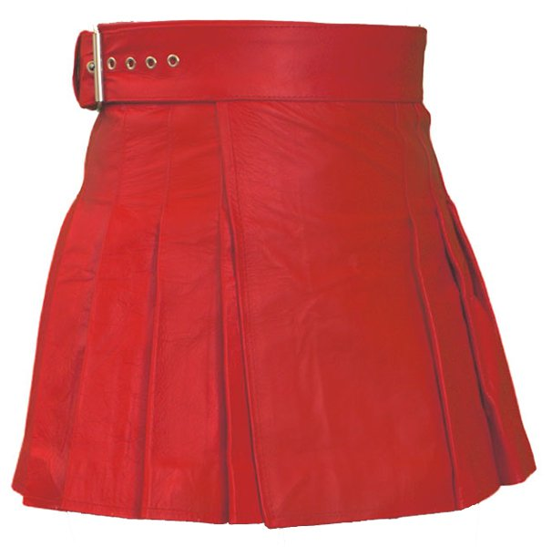 Size 28 Ladies Mini Stylish Skirt in Real Red Leather Wrap-around Leather Mini Skirt Kilt