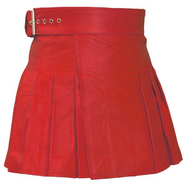 Real Red Leather Skirt Ladies Mini Stylish Skirt Size 38 Wrap Round Leather Skirt Kilt