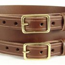 Double Buckle Brown Leather Belt Size 36 Celtic Knot Belt Kilt Belt Leather Belt Brown Belt