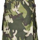 Men's Custom Size Camo Cotton Utility Kilt 48 Size Cargo Pockets Kilt With Leather Straps