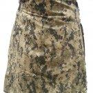 New Custom Size Digital Camo Cotton Utility Kilt 26 Size Cargo Pockets Kilt With Leather Straps