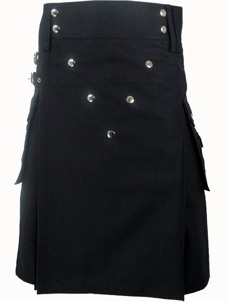 28 Size Utility Black Cotton Kilt Fashion Kilt with Cargo Pockets and Front Buttons