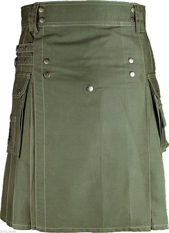 26 Size Scottish Handmade Olive Green Cotton Kilt Unisex Modern Utility Cargo Kilt Brass Material