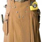 Men's Brown Utility Cotton Kilt 36 Size Working Kilt with Cargo Pockets
