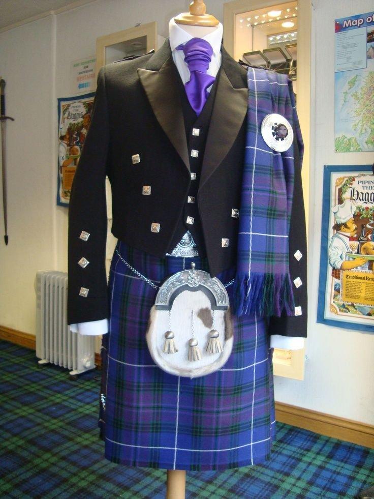 Size 42 7 pieces Pride of Scotland Tartan Kilt deal with Prince Charlie English Jacket