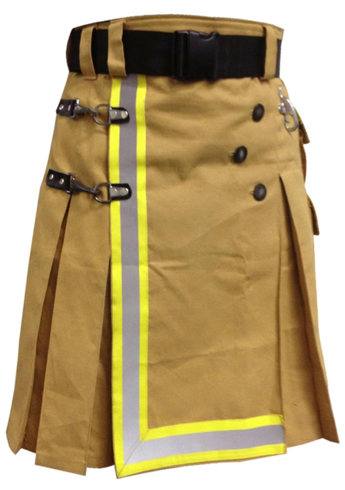 DE Size 48 Fireman Khaki Cotton UTILITY KILT With Cargo Pockets