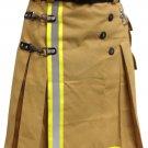 DE Size 34 Fireman Khaki Cotton UTILITY KILT With Cargo Pockets